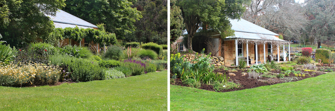 The perennial border in front of the cottage at St Erth in Summer (L) and in Winter (R).