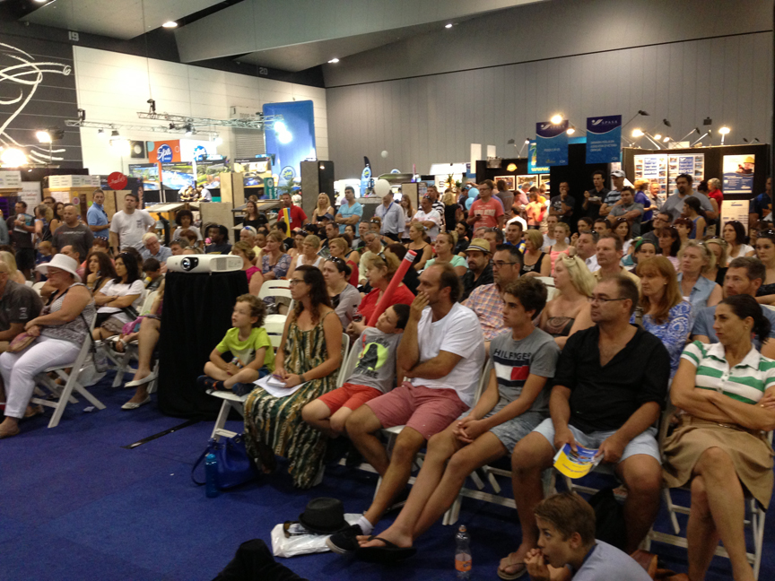 """The crowd at Ian Barker's presentation at the 2014 SPASA Show on Pool & Garden Design, """"Why Some Just Work"""", featuring the top tips for positioning a swimming pool in your garden."""