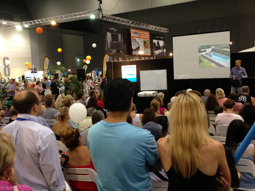 """Ian Barker giving his presentation at the 2014 SPASA Show on Pool & Garden Design, """"Why Some Just Work"""", featuring the top tips for positioning a swimming pool in your garden."""