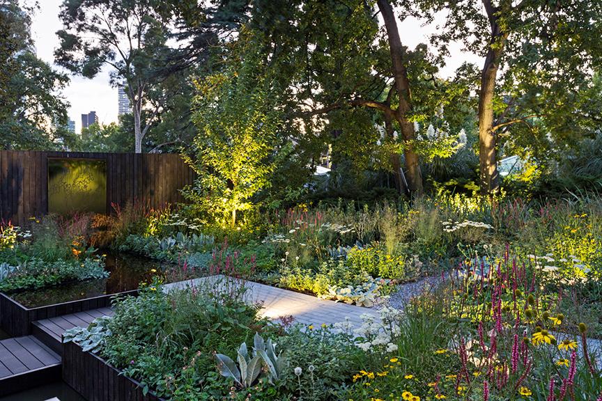 Ian Barker Gardens_Melbourne International Flower & Garden Show 2016_Patrick Redmond Photography_Reflection Garden at Dusk