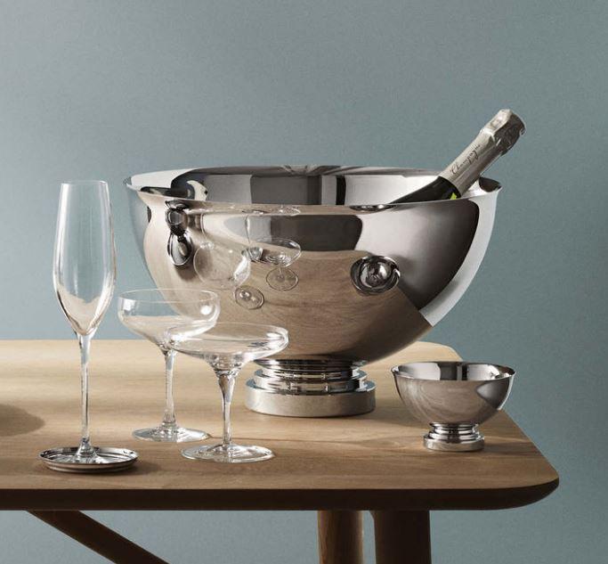Georg Jensen Champagne Bowl featured in Ian Barker Gardens, Garden Notebook Edition 30.