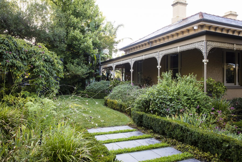 Leading to informal side garden design at Box Hill project by Ian Barker Gardens